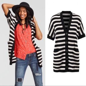 CAbi Whistle Button Up Cardigan Black White Stripe